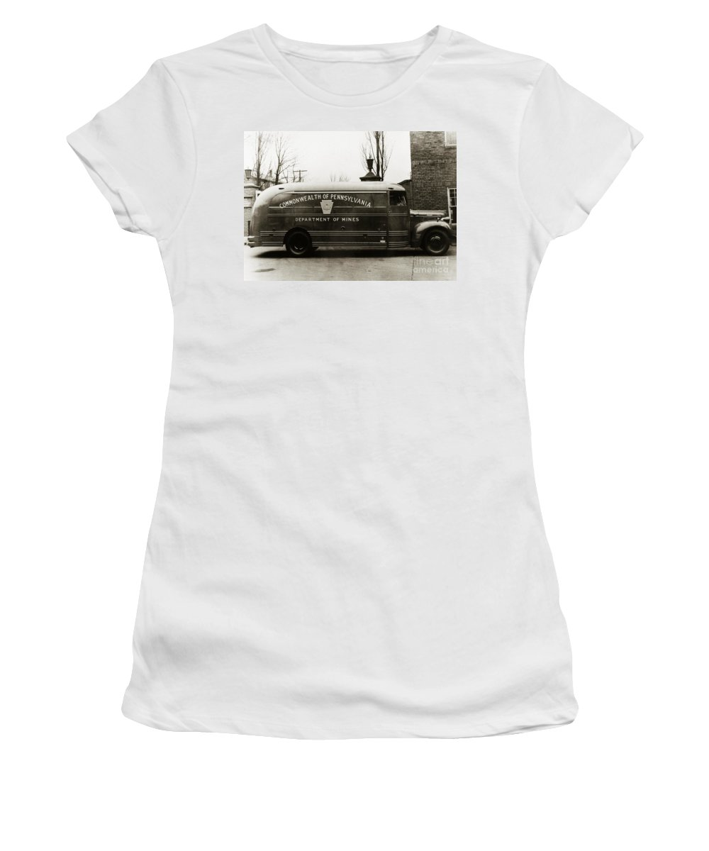 Coal Mine Women's T-Shirt featuring the photograph Commonwealth Of Pennsylvania Coal Mine Rescue Truck 1947 by Arthur Miller
