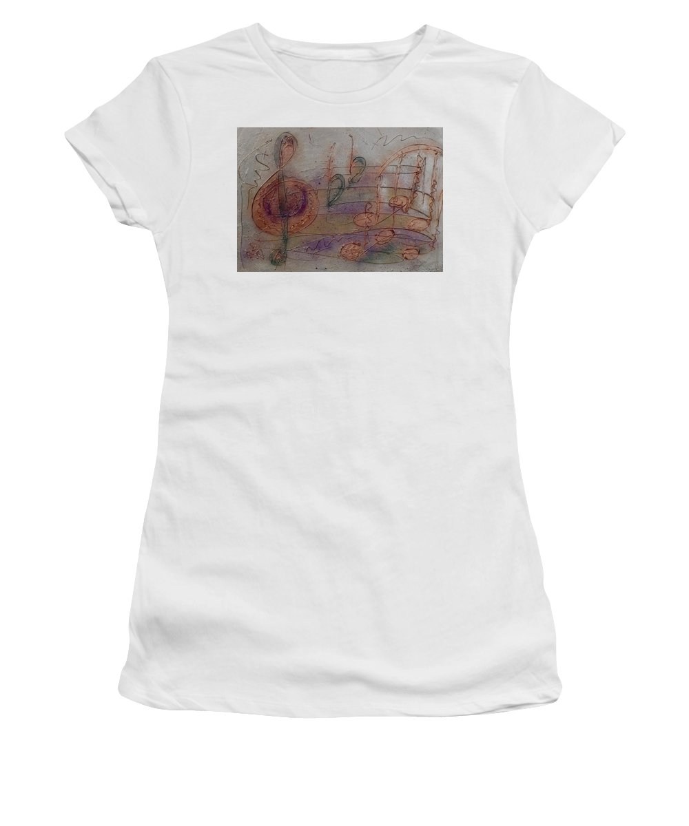 Impressionist Women's T-Shirt (Athletic Fit) featuring the painting Composition In B Flat by Anita Burgermeister