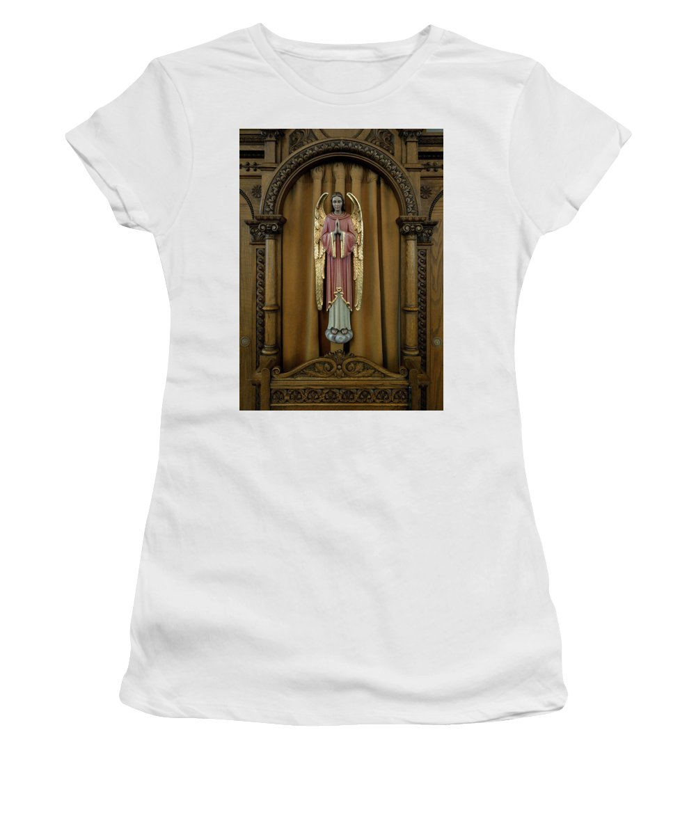 Catholic Women's T-Shirt (Athletic Fit) featuring the photograph Confessional - Our Lady Of Lourdes Cathedral - Spokane by Daniel Hagerman