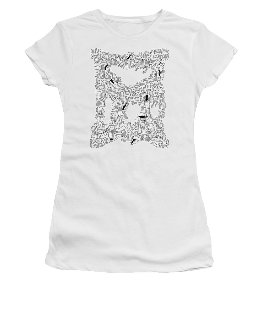 Mazes Women's T-Shirt (Athletic Fit) featuring the drawing Connections by Steven Natanson