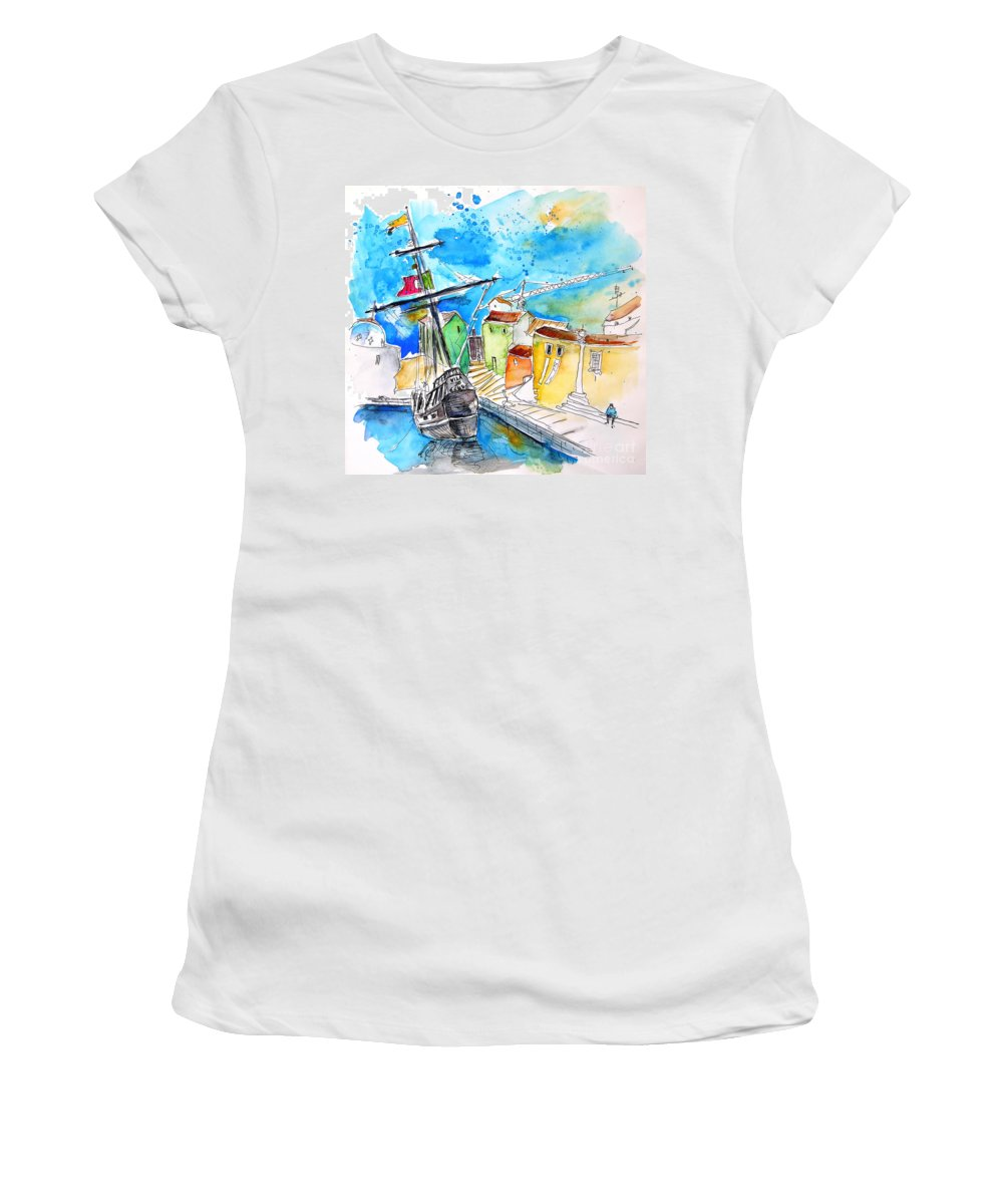 Portugal Women's T-Shirt (Athletic Fit) featuring the painting Conquistador Boat In Portugal by Miki De Goodaboom