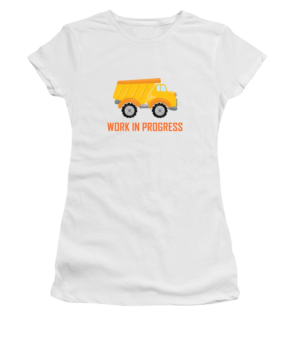 Dump Truck Women's T-Shirt (Athletic Fit) featuring the digital art Construction Zone - Dump Truck Work In Progress Gifts - White Background by Life Over Here