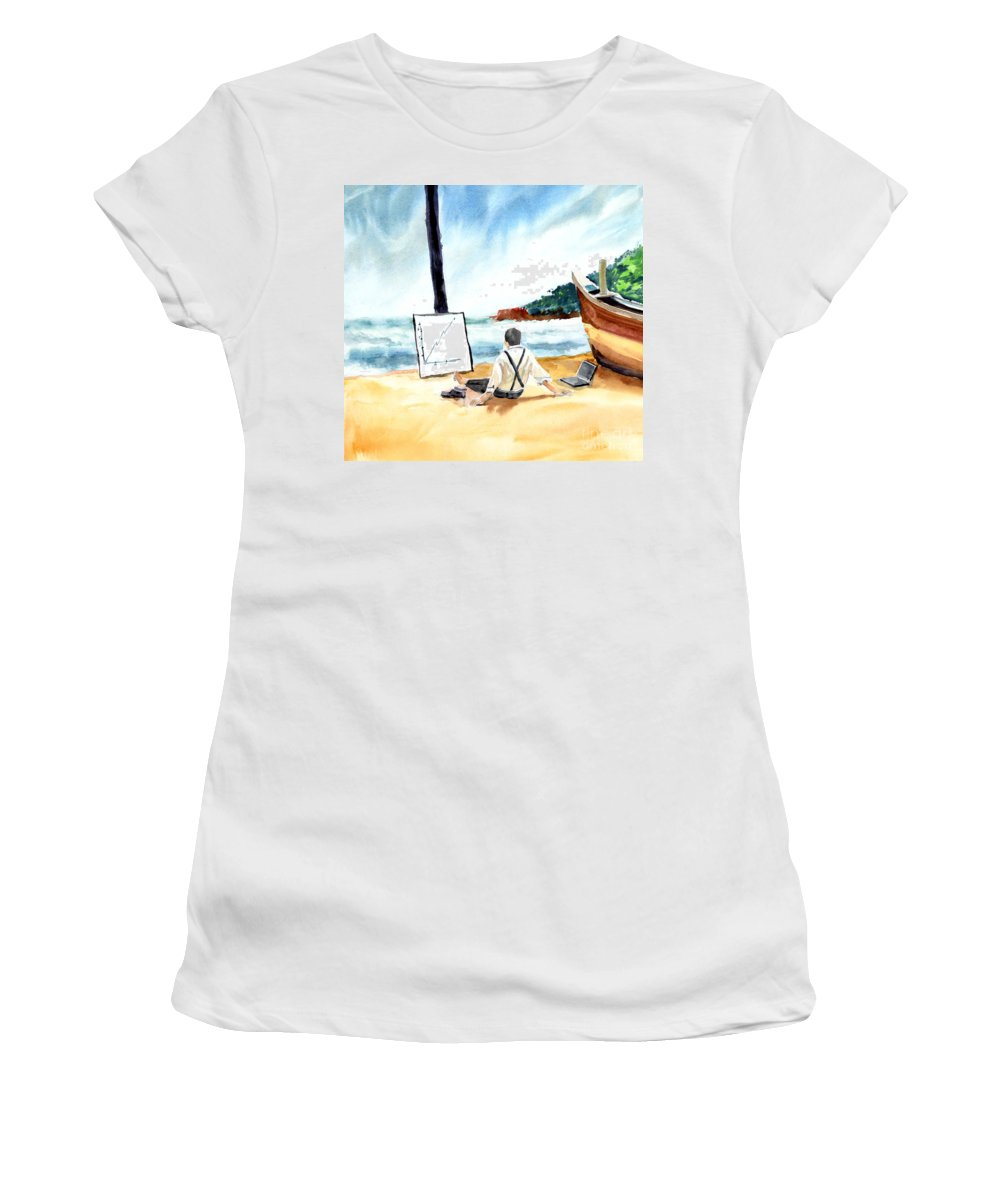Landscape Women's T-Shirt (Athletic Fit) featuring the painting Contemplation by Anil Nene
