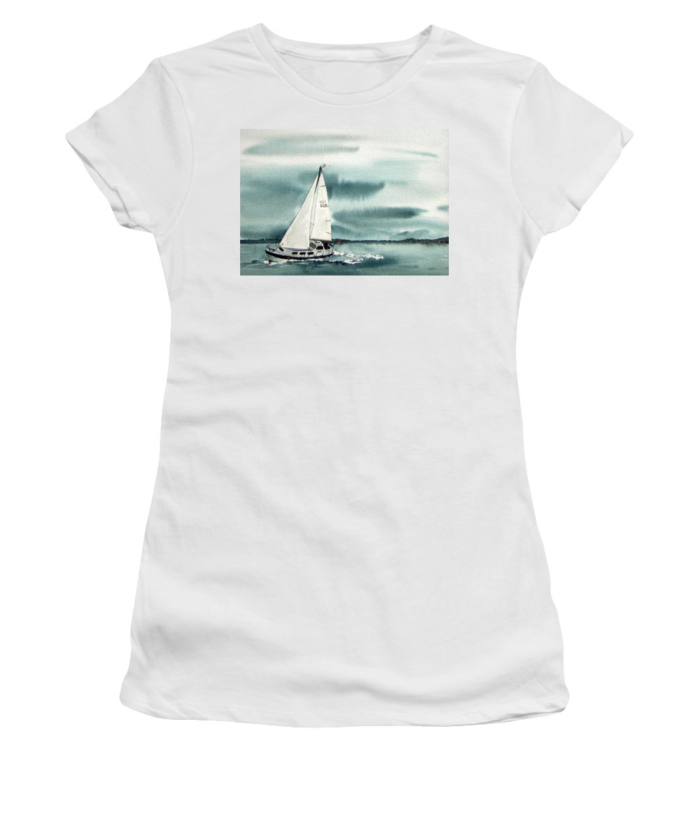 Sailing Women's T-Shirt (Athletic Fit) featuring the painting Cool Sail by Gale Cochran-Smith