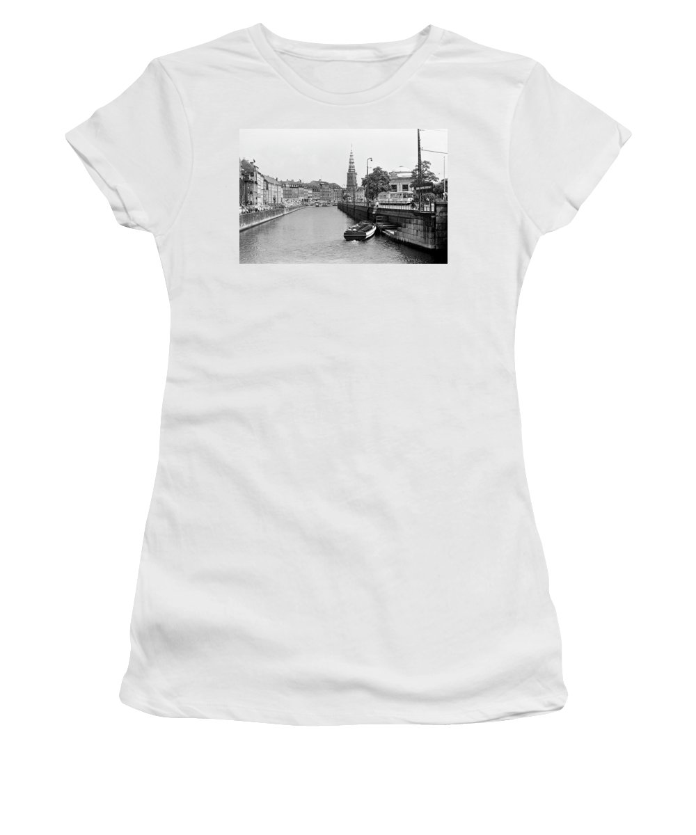Kobenhavn Women's T-Shirt (Athletic Fit) featuring the photograph Copenhagen Canal 1 by Lee Santa