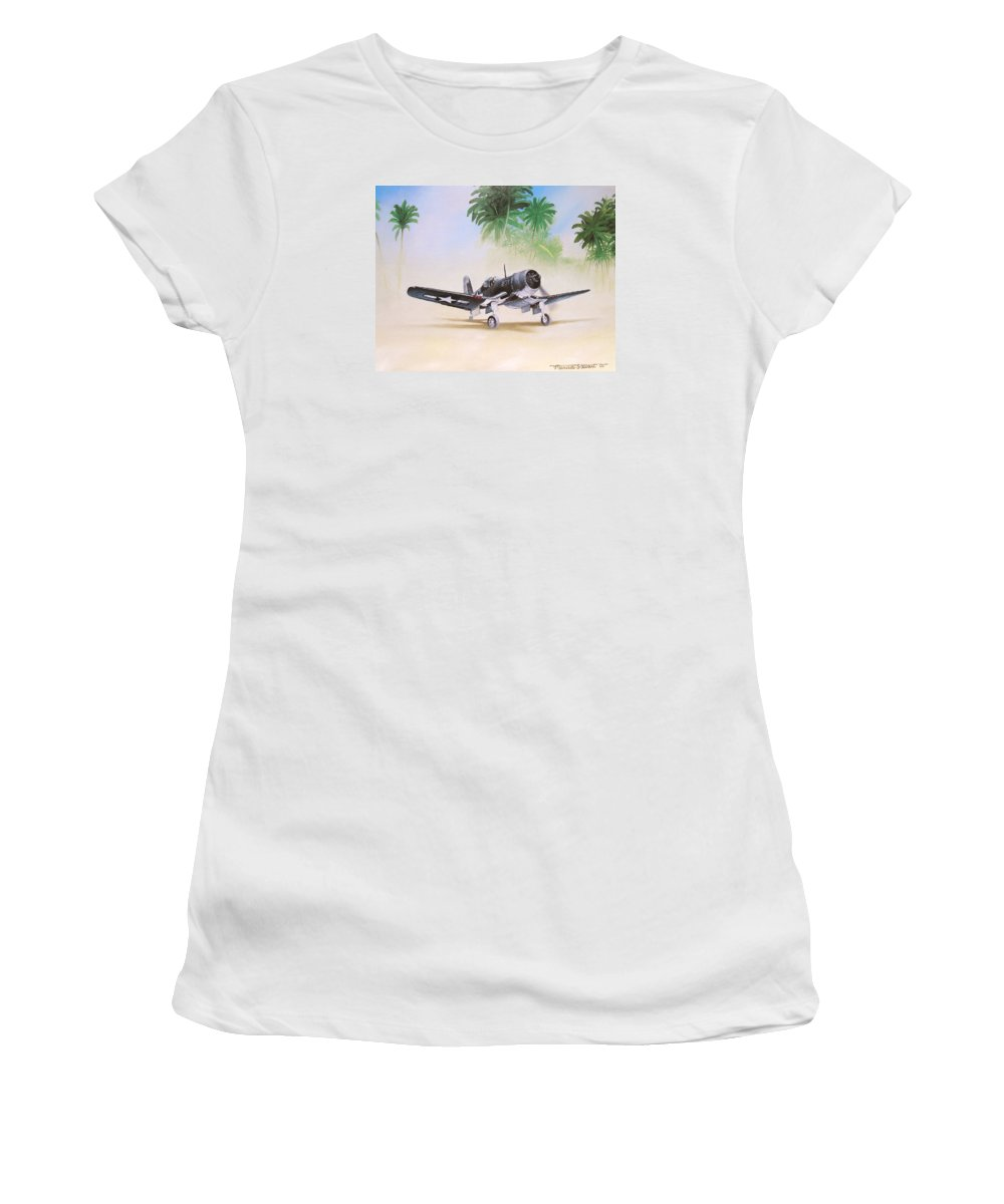 Aviation Women's T-Shirt featuring the painting Corsair Preflight by Marc Stewart