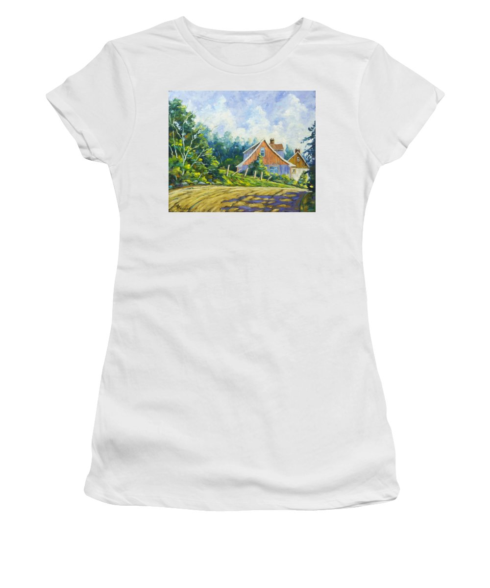 Art Women's T-Shirt featuring the painting Cote Ste Anne De Beaupre by Richard T Pranke