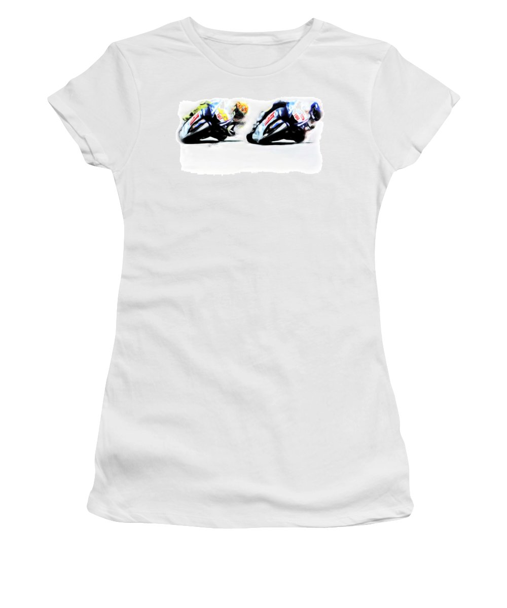 Ducati Women's T-Shirt featuring the painting Counterbalance IIi by Brian Reaves