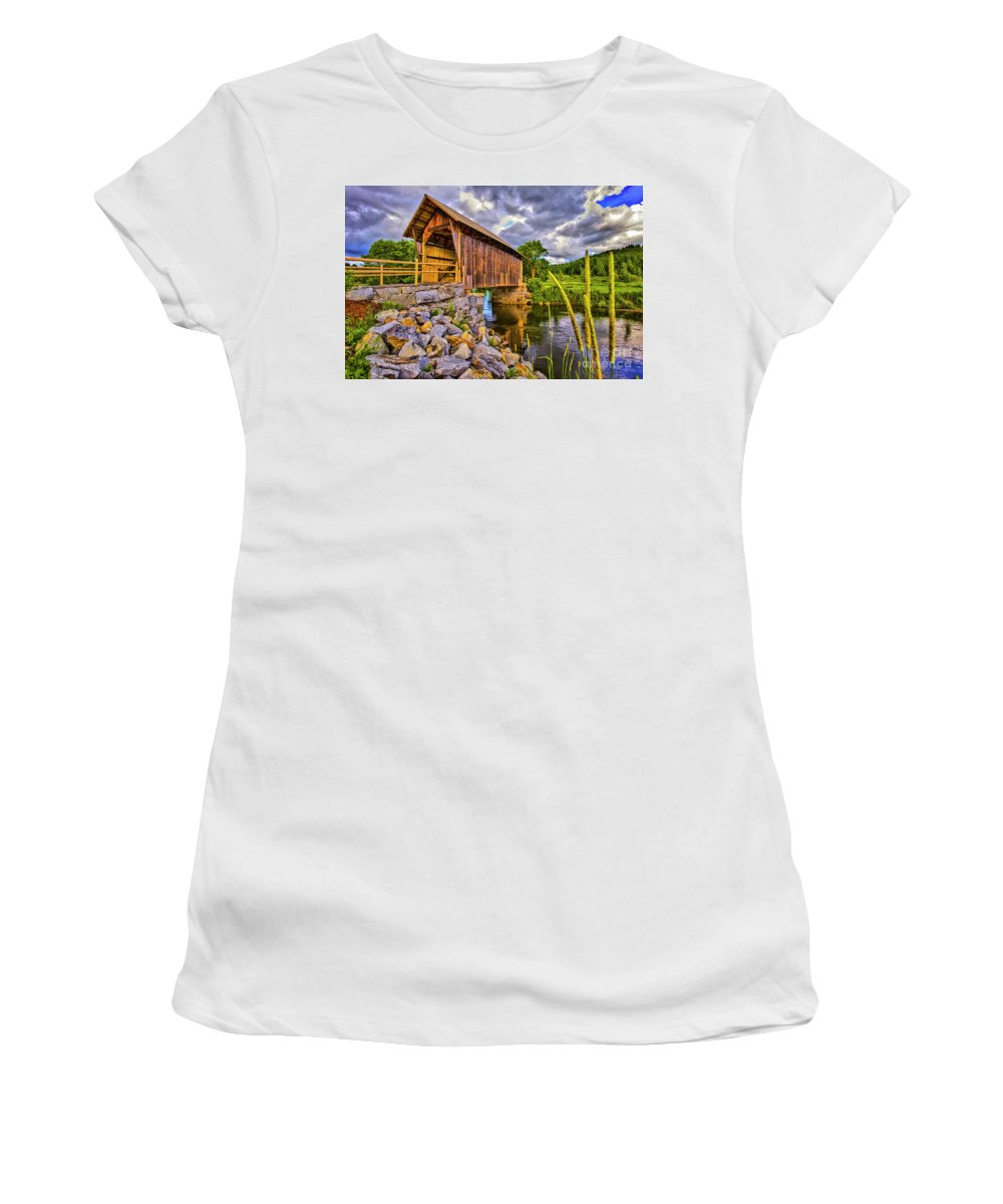 Vermont Women's T-Shirt (Athletic Fit) featuring the photograph Covered Bridge, Vt by Vito Palmisano