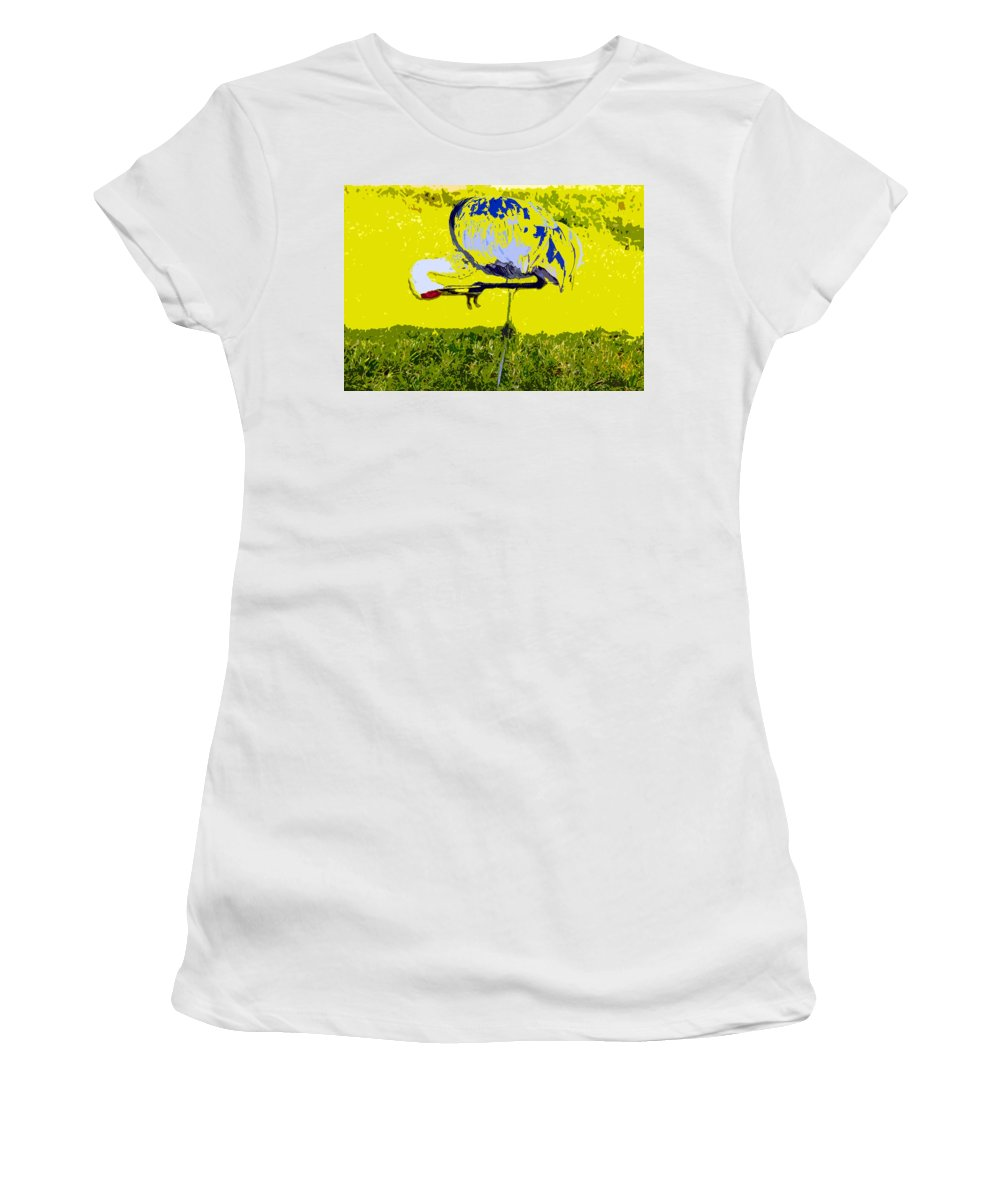 Sand Hill Crane Women's T-Shirt (Athletic Fit) featuring the painting Craning by David Lee Thompson