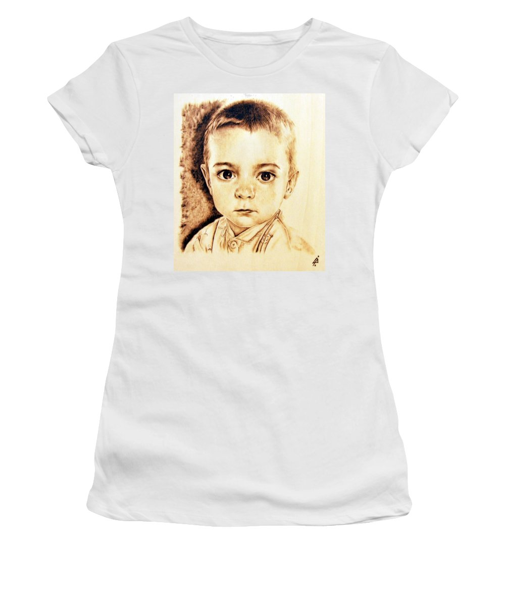Baby Women's T-Shirt (Athletic Fit) featuring the pyrography Cricciolo by Ilaria Andreucci