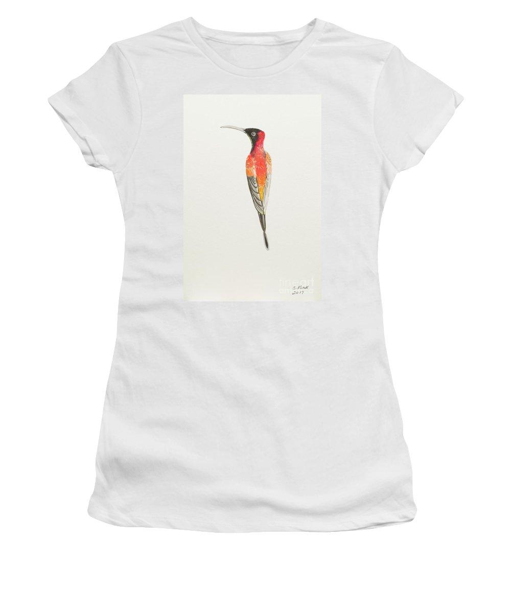 Crimson Topaz Women's T-Shirt featuring the painting Crimson Topaz by Stefanie Forck
