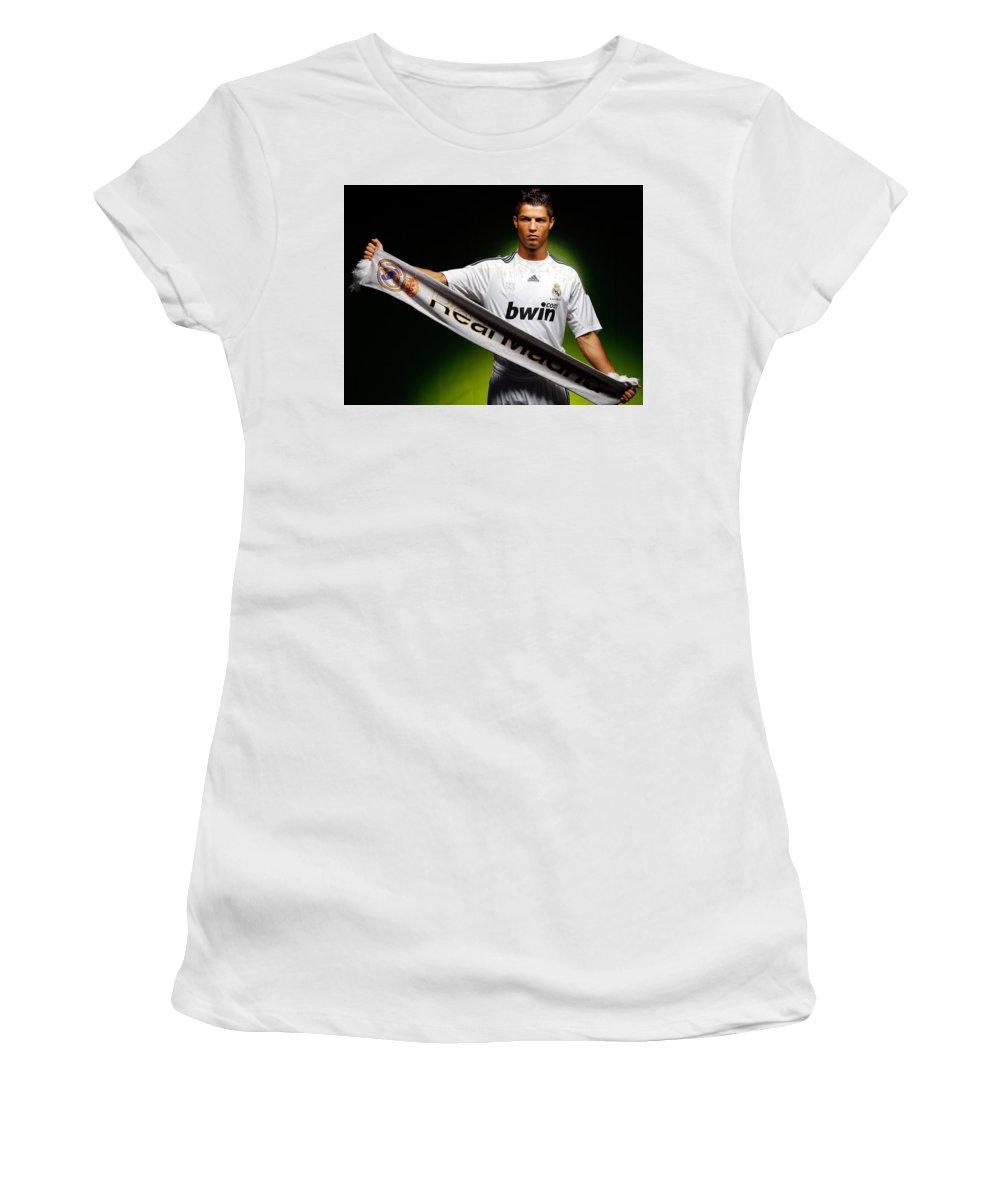 Cristiano Ronaldo Women's T-Shirt featuring the photograph Cristiano Ronaldo by Jackie Russo