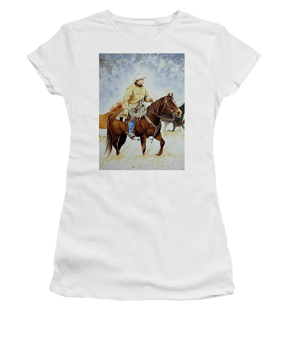 Art Women's T-Shirt (Athletic Fit) featuring the painting Cropped Ranch Rider by Jimmy Smith