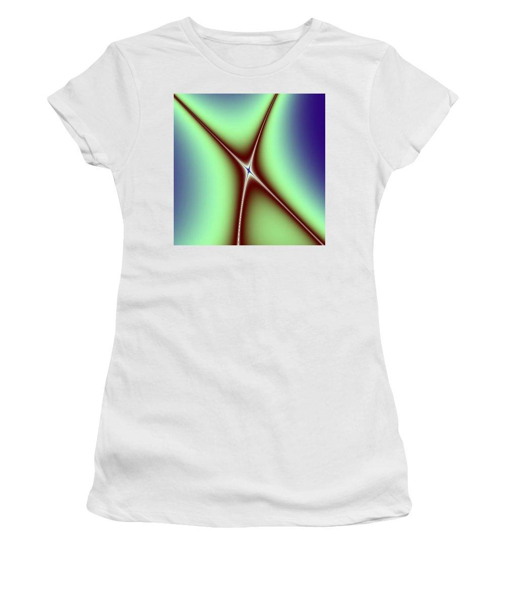 Digital Art Women's T-Shirt (Athletic Fit) featuring the digital art Crossing II by Dragica Micki Fortuna