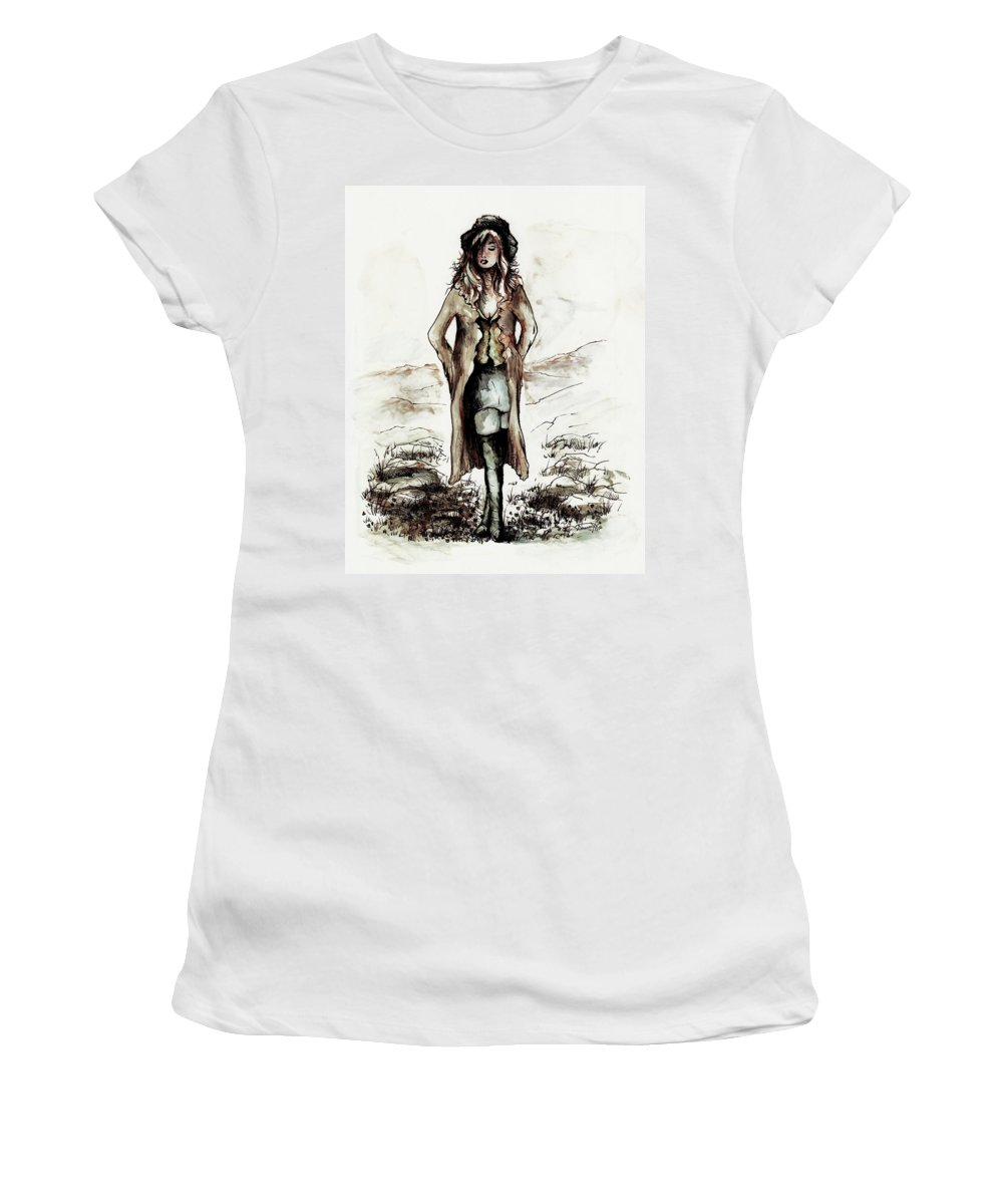 Figure Women's T-Shirt (Athletic Fit) featuring the drawing Crossroads by Rachel Christine Nowicki