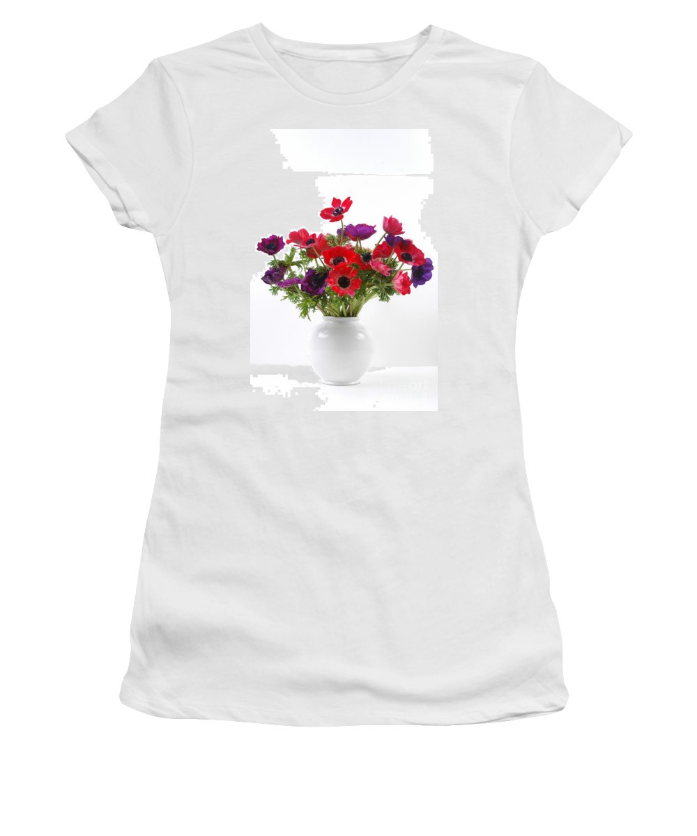 Flower Women's T-Shirt (Athletic Fit) featuring the photograph crown Anemone in a white vase by Ilan Amihai