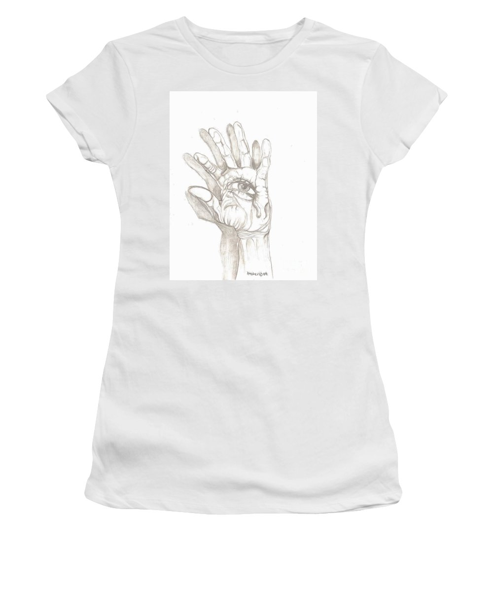 Hand Women's T-Shirt featuring the drawing Crying Hand by Americo Salazar