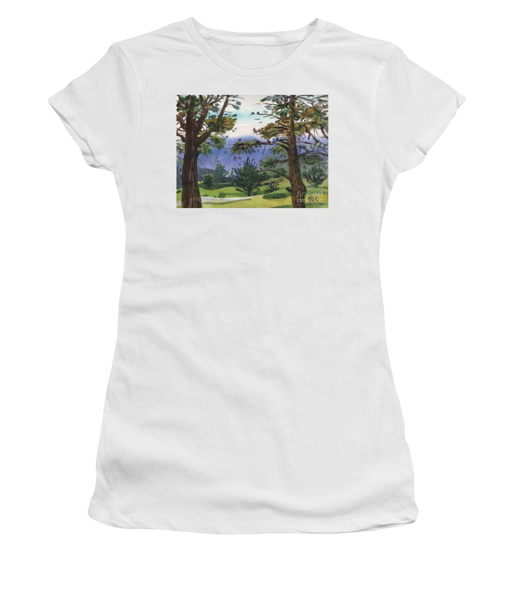 Golf Course Women's T-Shirt featuring the painting Crystal Springs Fairway by Donald Maier