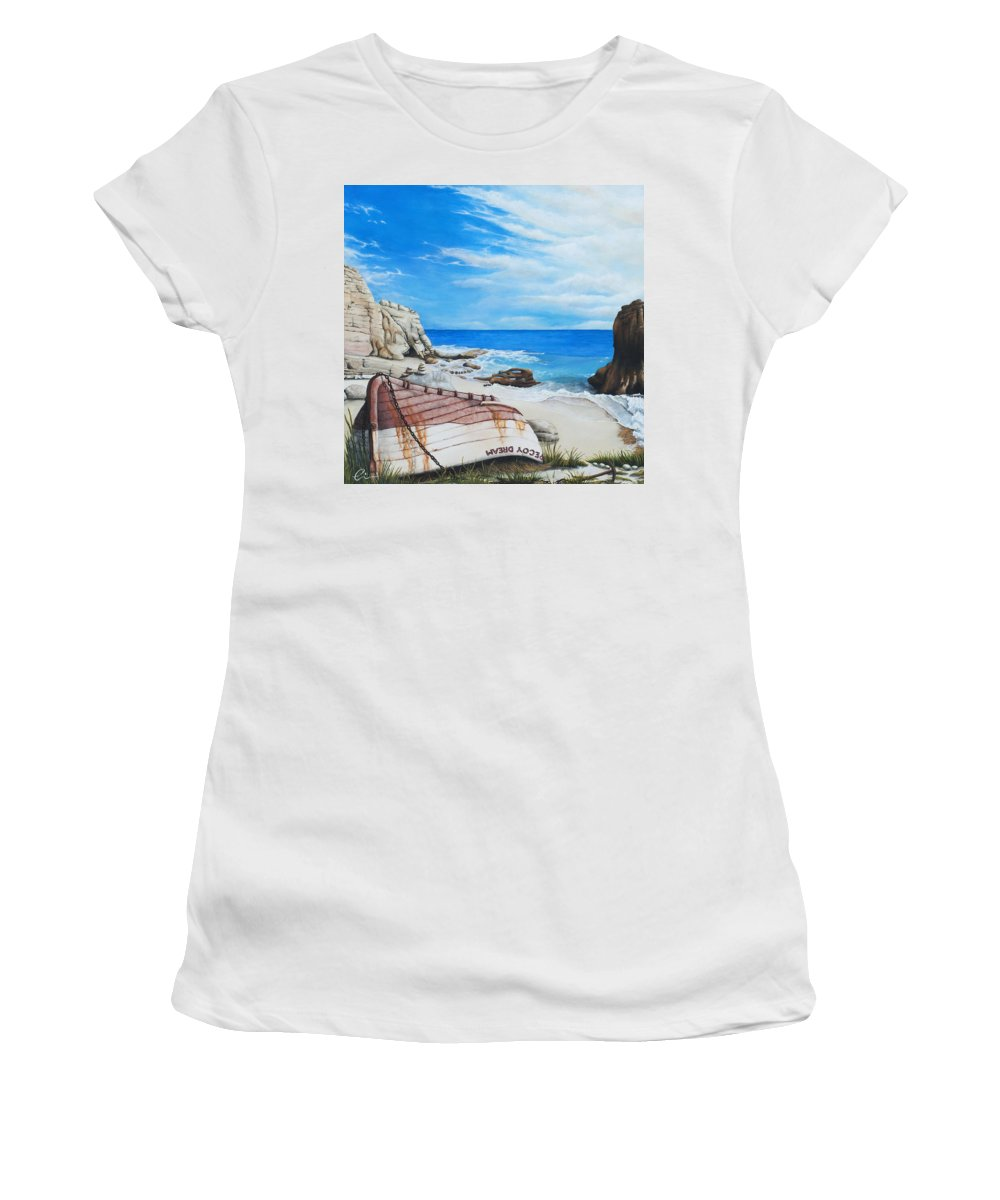 Sint Maarten Women's T-Shirt (Athletic Fit) featuring the painting Cupecoy Dream by Cindy D Chinn