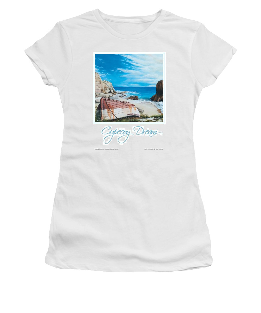 St. Maarten Women's T-Shirt (Athletic Fit) featuring the painting Cupecoy Dream Poster by Cindy D Chinn