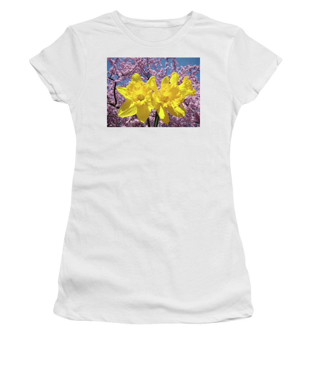 Daffodils Women's T-Shirt (Athletic Fit) featuring the photograph Daffodil Flowers Spring Pink Tree Blossoms Art Prints Baslee Troutman by Baslee Troutman
