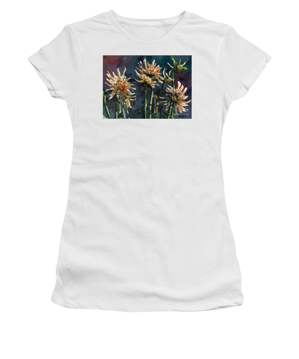 Floral Women's T-Shirt (Athletic Fit) featuring the painting Dahlias by Donald Maier
