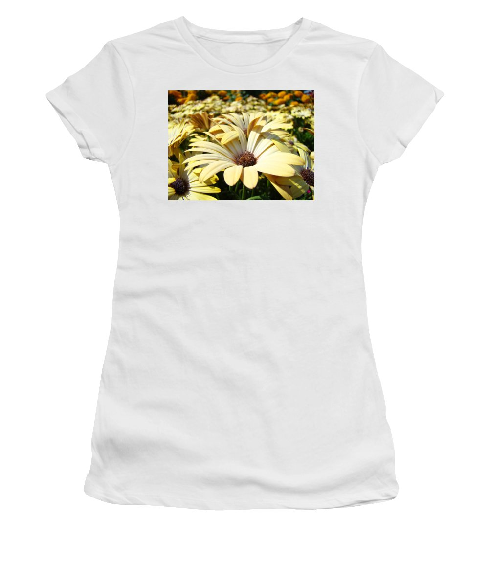 Daisy Women's T-Shirt (Athletic Fit) featuring the photograph Daisies Flowers Landscape Art Prints Daisy Floral Baslee Troutman by Baslee Troutman