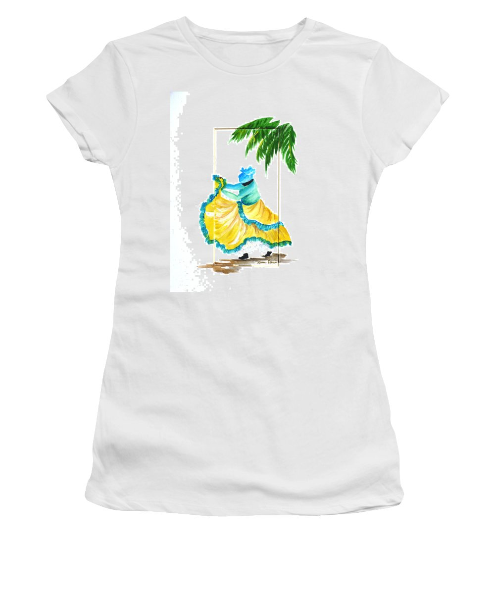 Dance Folk Caribbean Tropical Women's T-Shirt (Athletic Fit) featuring the painting Dance De Belaire by Karin Dawn Kelshall- Best