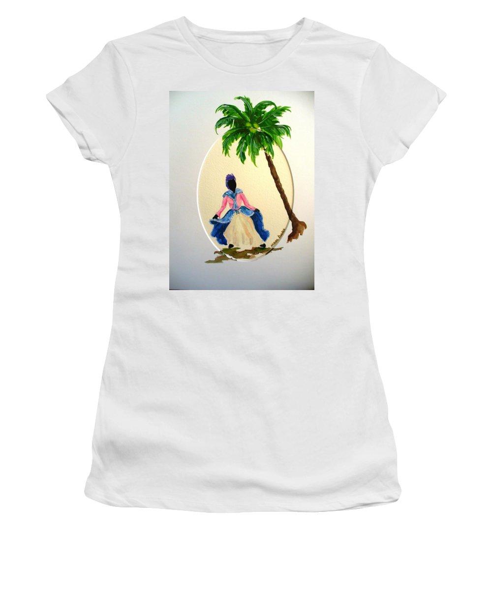 Dancer Caribbean Women's T-Shirt featuring the painting Dancer 2 by Karin Dawn Kelshall- Best