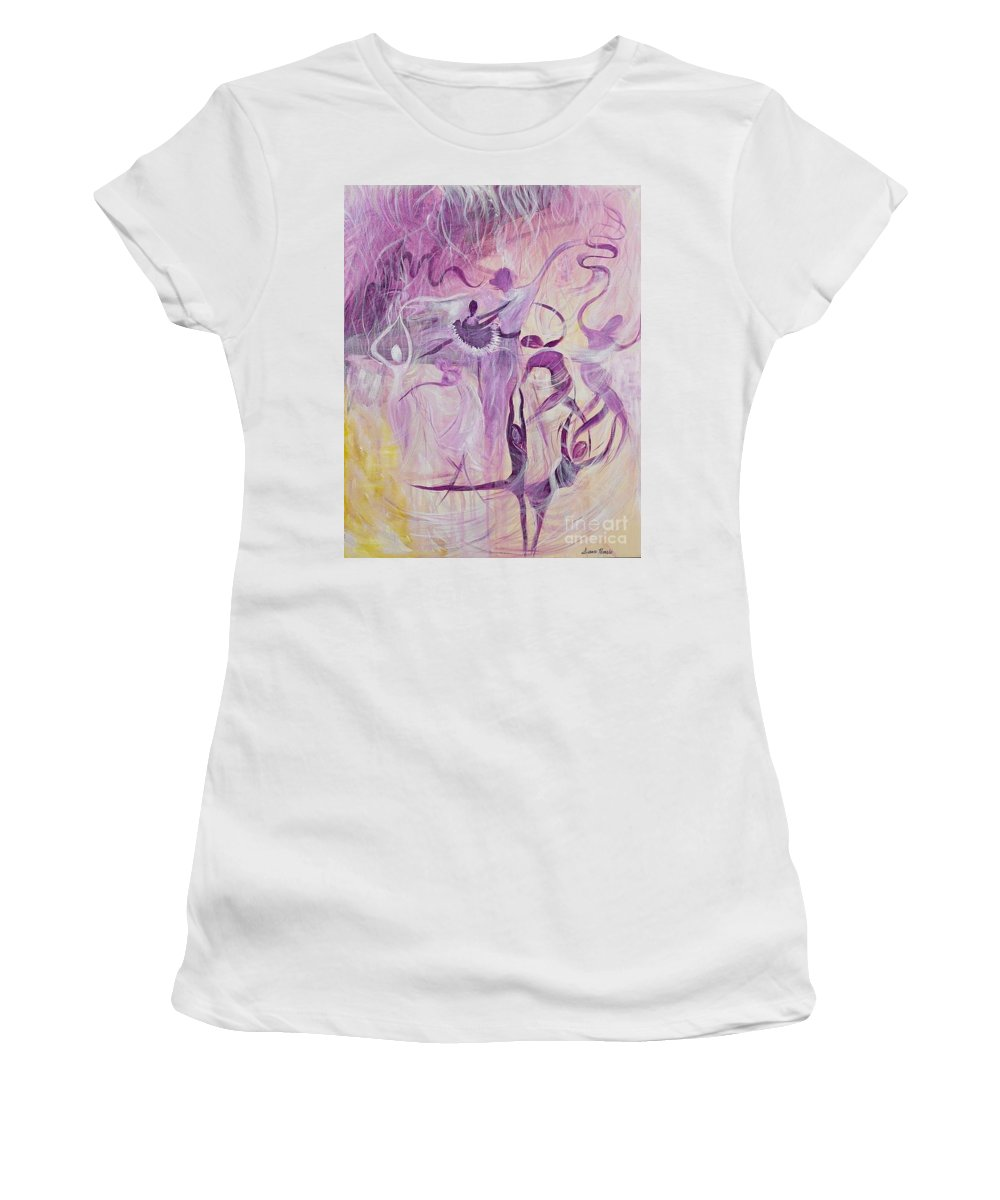 Acrylic Women's T-Shirt (Athletic Fit) featuring the painting Dancers by Susan Harris