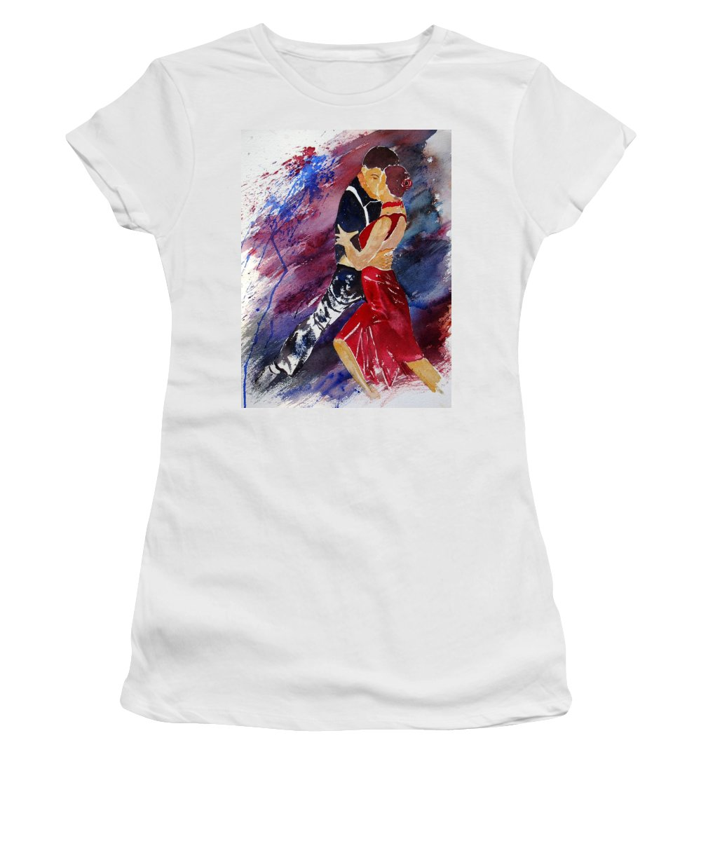 Tango Women's T-Shirt (Athletic Fit) featuring the painting Dancing Tango by Pol Ledent