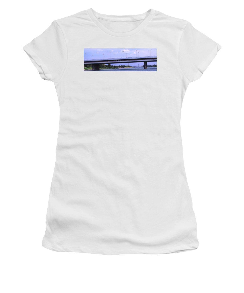 Bridge Women's T-Shirt (Athletic Fit) featuring the photograph Danube River Bridges by Ian MacDonald