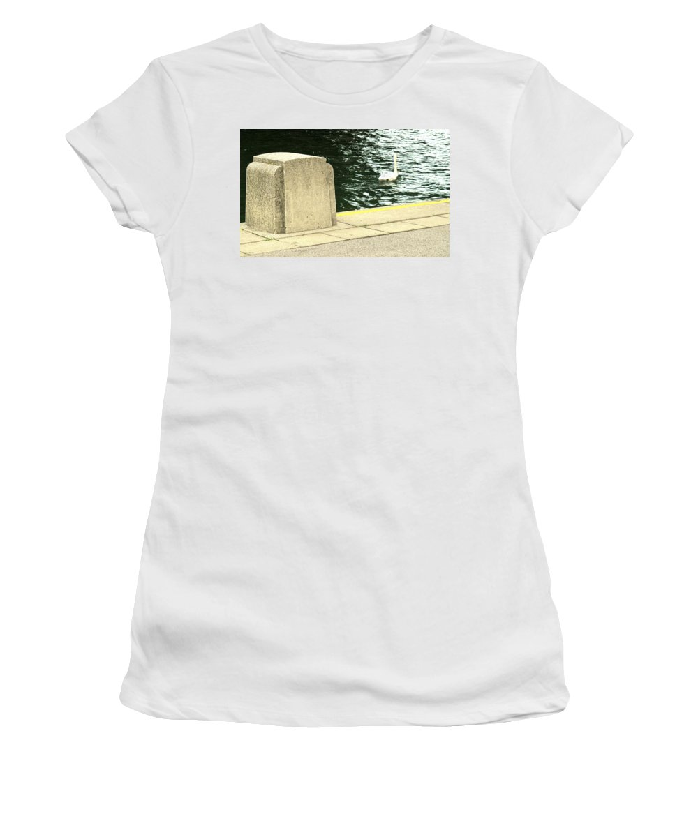 Swan Women's T-Shirt (Athletic Fit) featuring the photograph Danube River Swan by Ian MacDonald