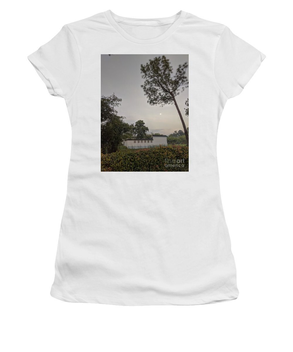 Landscape Women's T-Shirt (Athletic Fit) featuring the photograph Dawn Moon Over Chinese Garden Singapore by Nicholas Braman