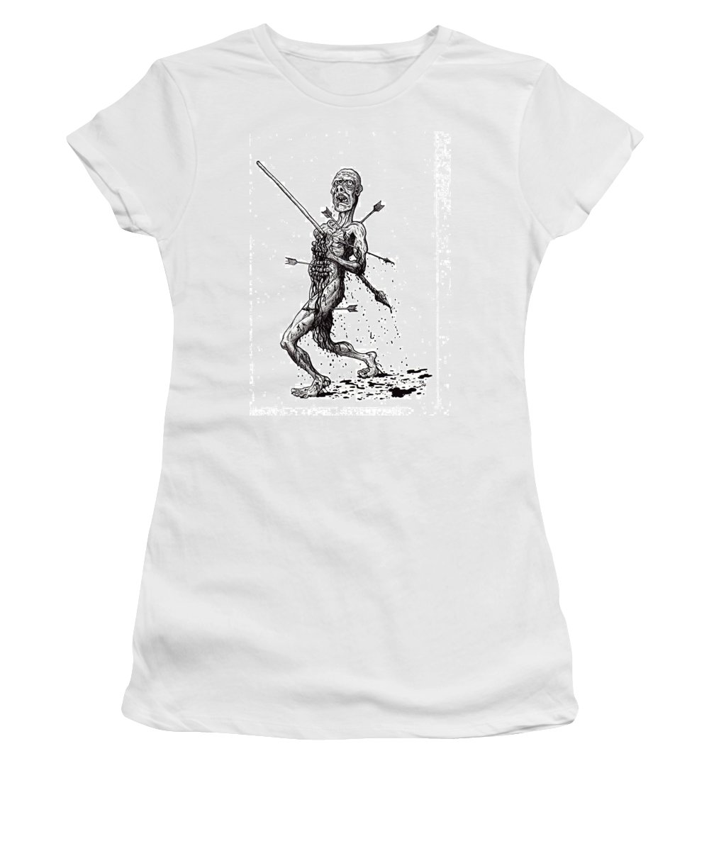 Dark Women's T-Shirt (Athletic Fit) featuring the drawing Death March by Tobey Anderson