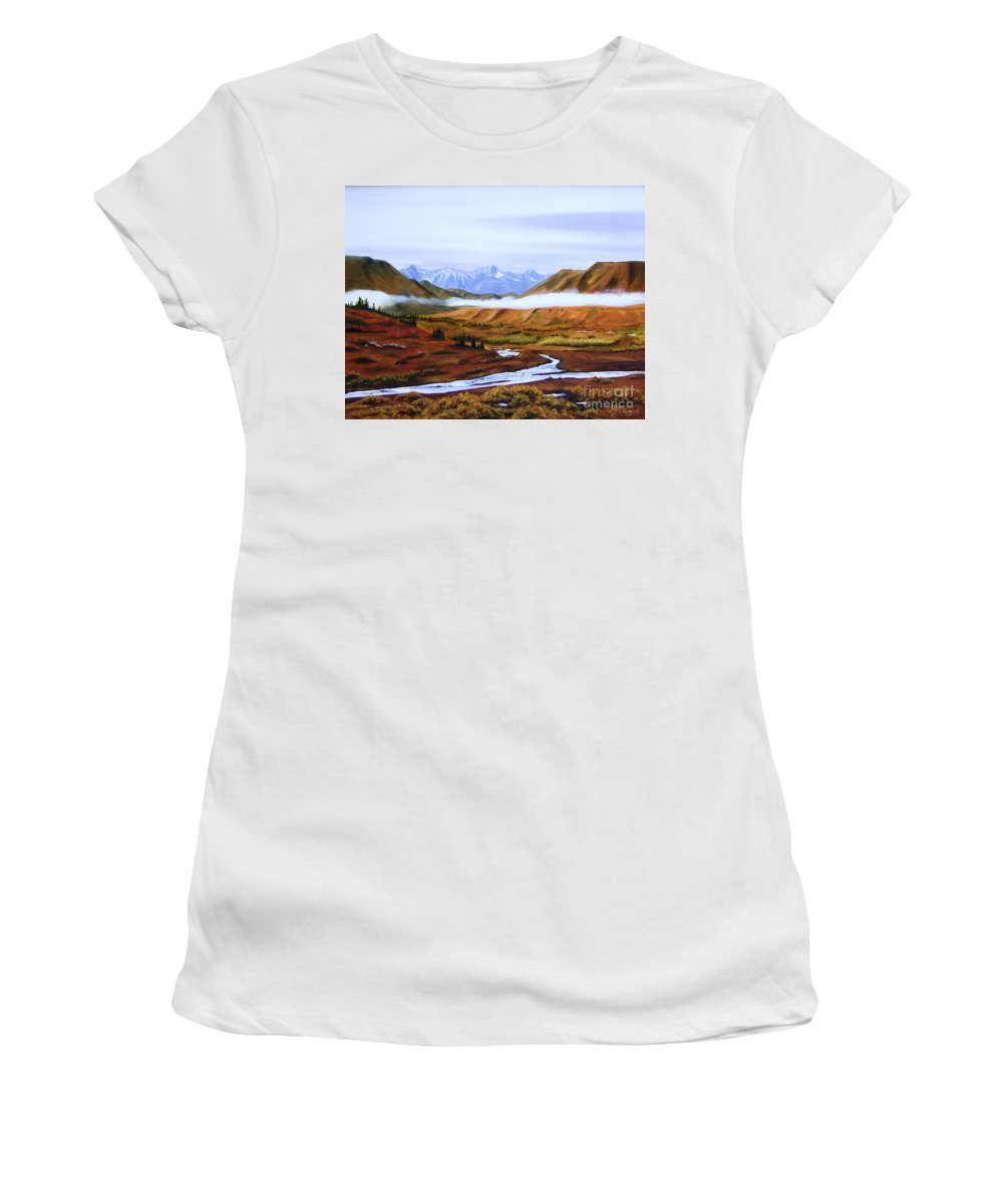 Art Women's T-Shirt (Athletic Fit) featuring the painting Denali Autumn by Mary Rogers