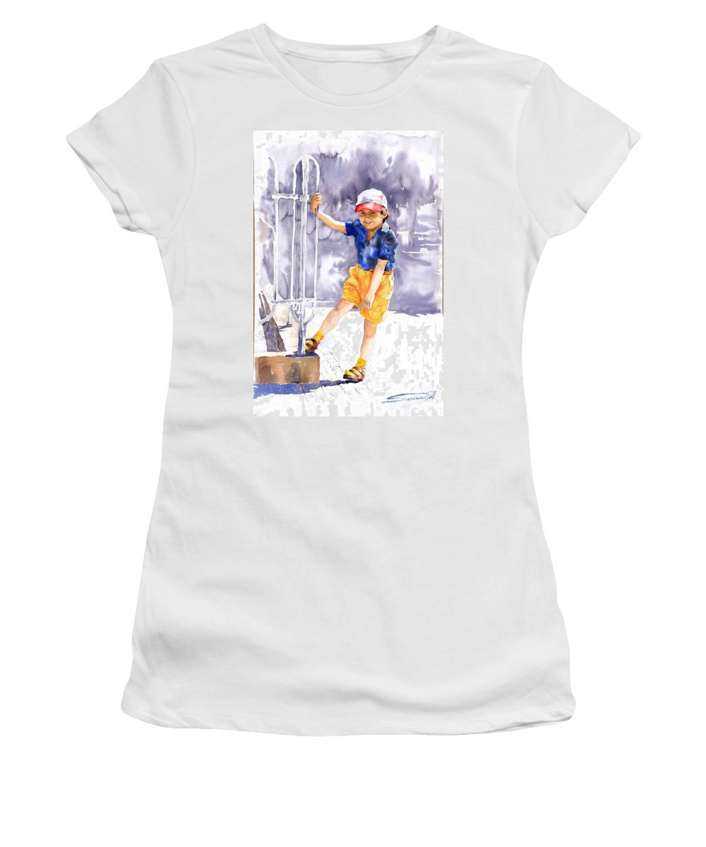 Watercolor Watercolour Figurativ Portret Women's T-Shirt (Athletic Fit) featuring the painting Denis 02 by Yuriy Shevchuk