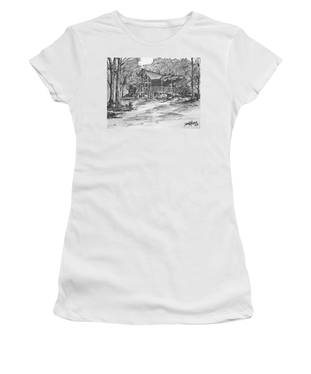 Barn Women's T-Shirt (Athletic Fit) featuring the painting Derrick by Derek Mccrea