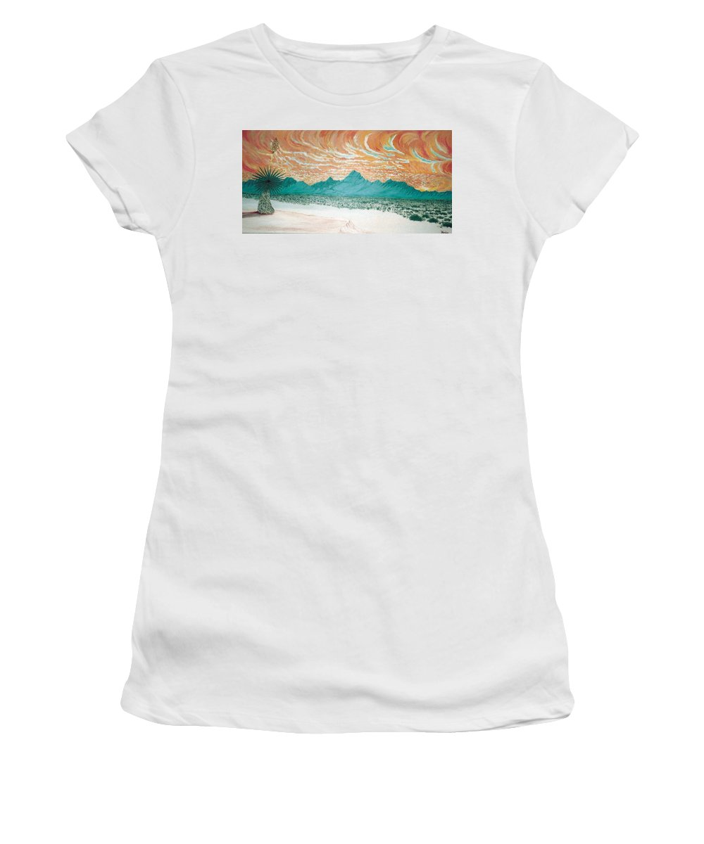 Desertscape Women's T-Shirt (Athletic Fit) featuring the painting Desert Splendor by Marco Morales