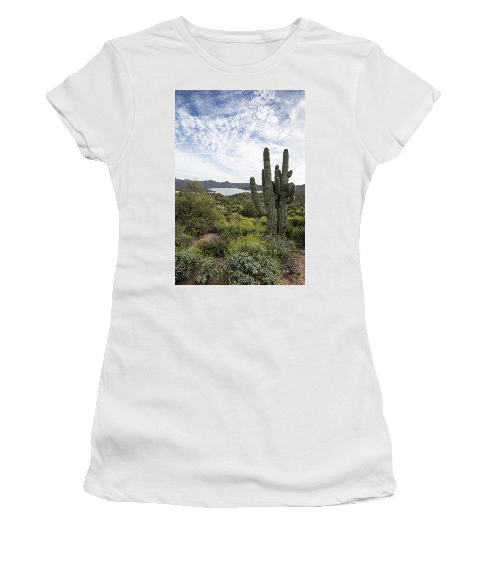 Arizona Women's T-Shirt (Athletic Fit) featuring the photograph Desert Wildflower View by Cathy Franklin