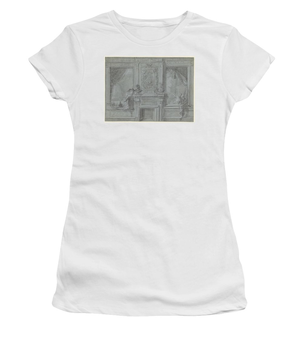 Nature Women's T-Shirt featuring the painting Design For A Room Wall With A Chimney Piece And Paintings, Cornelis Troost, 1720 - 1750 by Cornelis Troost