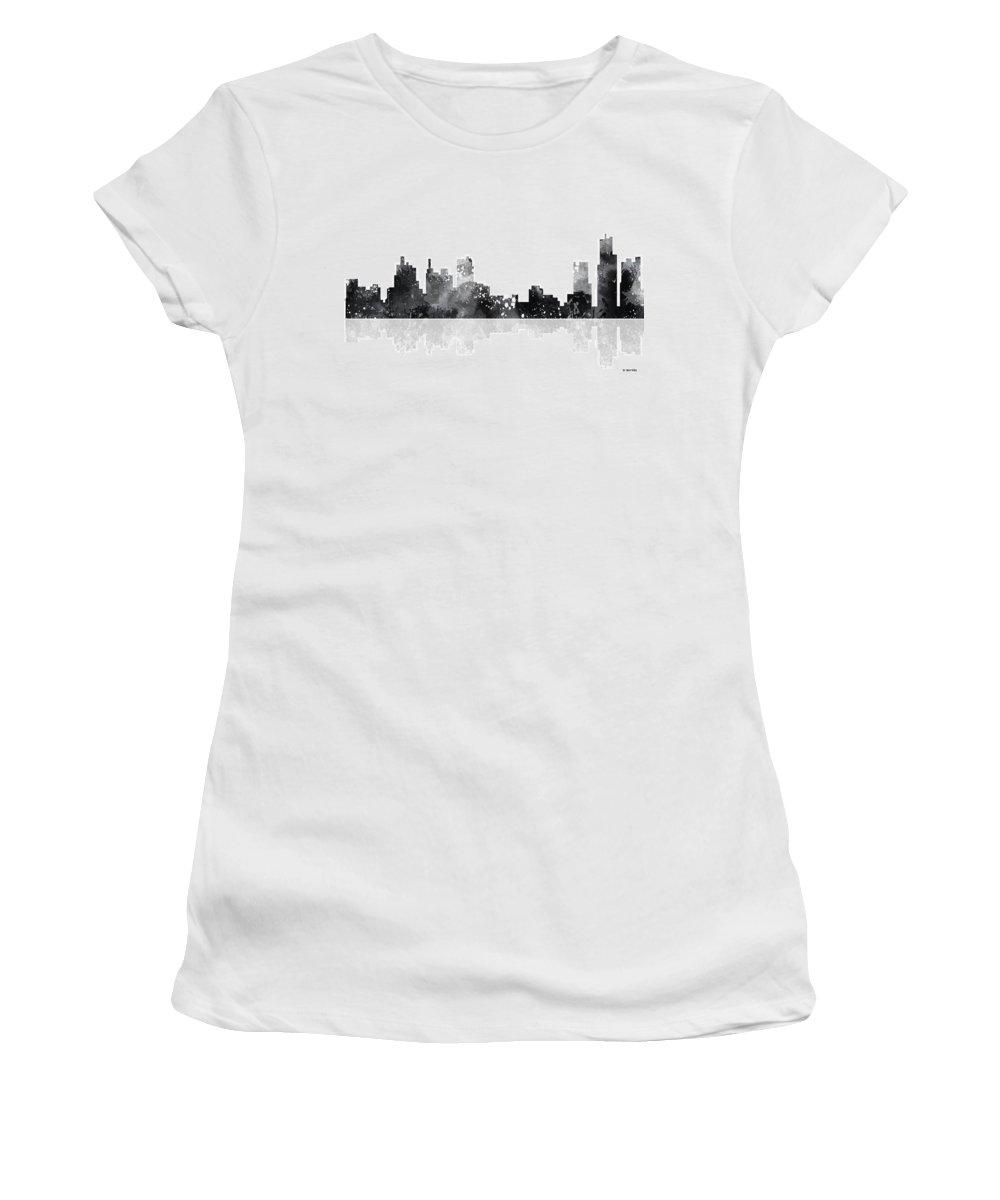 Detroit Michigan Skyline Women's T-Shirt featuring the digital art Detroit Michigan Skyline by Marlene Watson