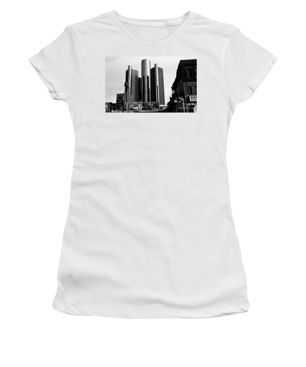 Detroit Women's T-Shirt (Athletic Fit) featuring the photograph Detroit Rc From Congress by Steven Dunn