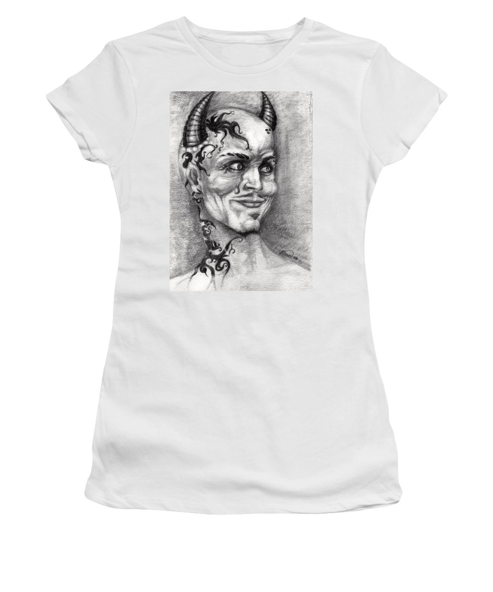 Satan Women's T-Shirt (Athletic Fit) featuring the drawing Devil May Cry by Alban Dizdari