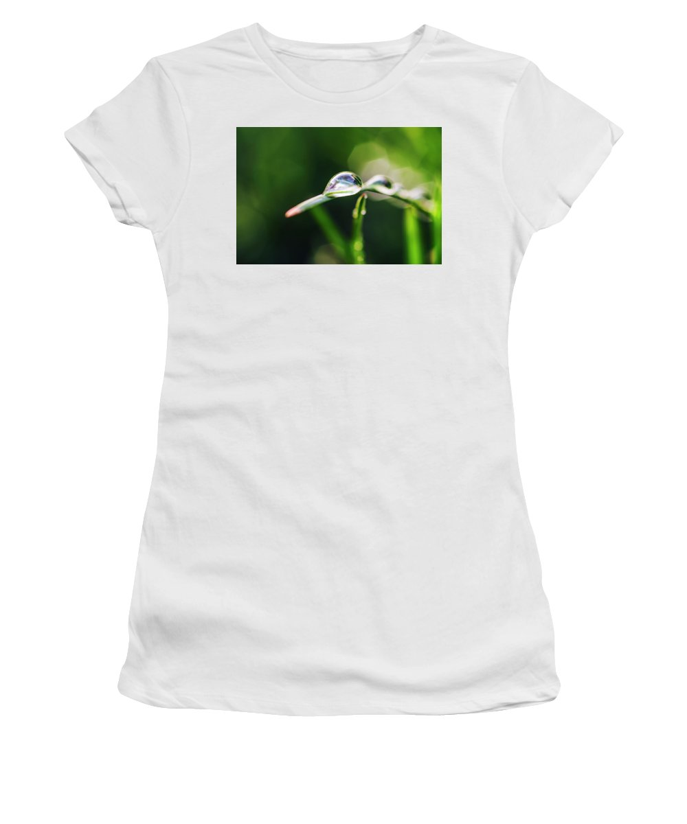 Dew Women's T-Shirt (Athletic Fit) featuring the photograph Dew Drop On Spring Grass by Vishwanath Bhat