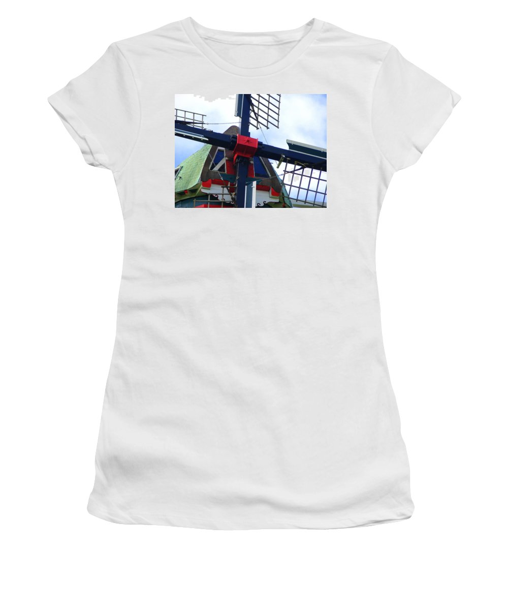 Dezwaan Women's T-Shirt (Athletic Fit) featuring the photograph Dezwaan Windmill Holland Michigan by Michelle Calkins