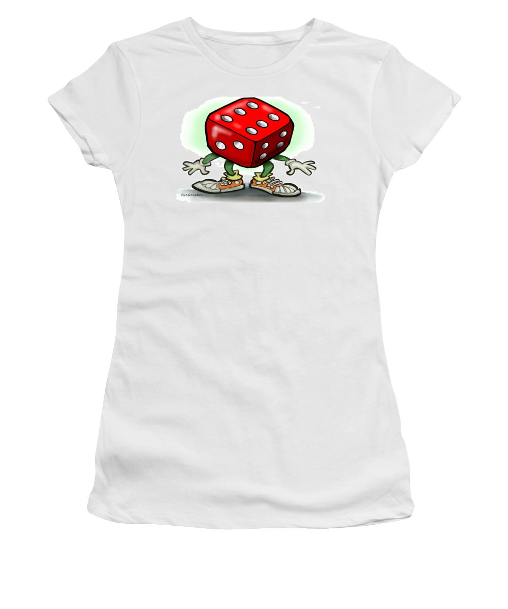 Dice Women's T-Shirt (Athletic Fit) featuring the greeting card Dice by Kevin Middleton