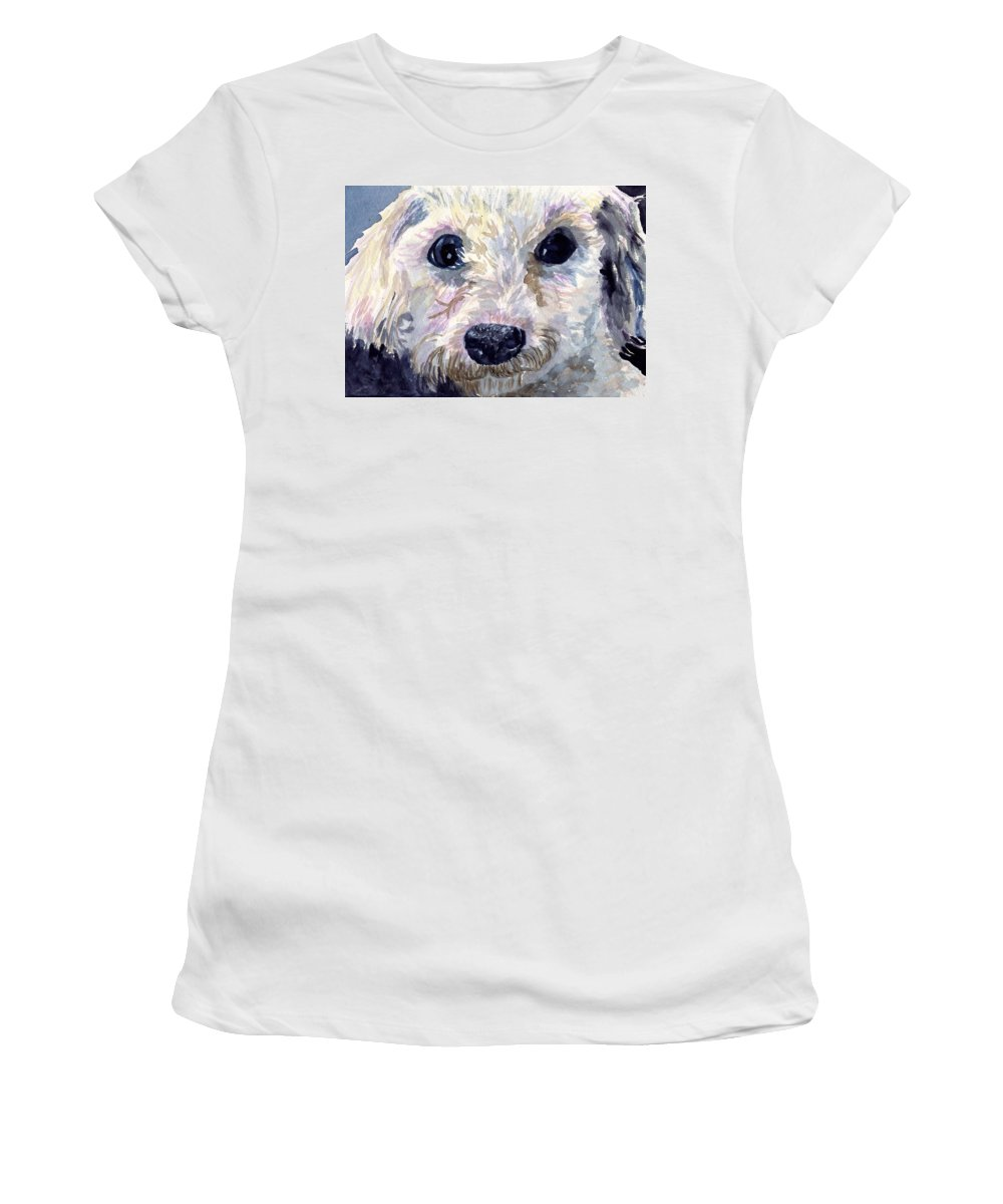 Bichon Frise Women's T-Shirt (Athletic Fit) featuring the painting Did You Say Lunch by Sharon E Allen