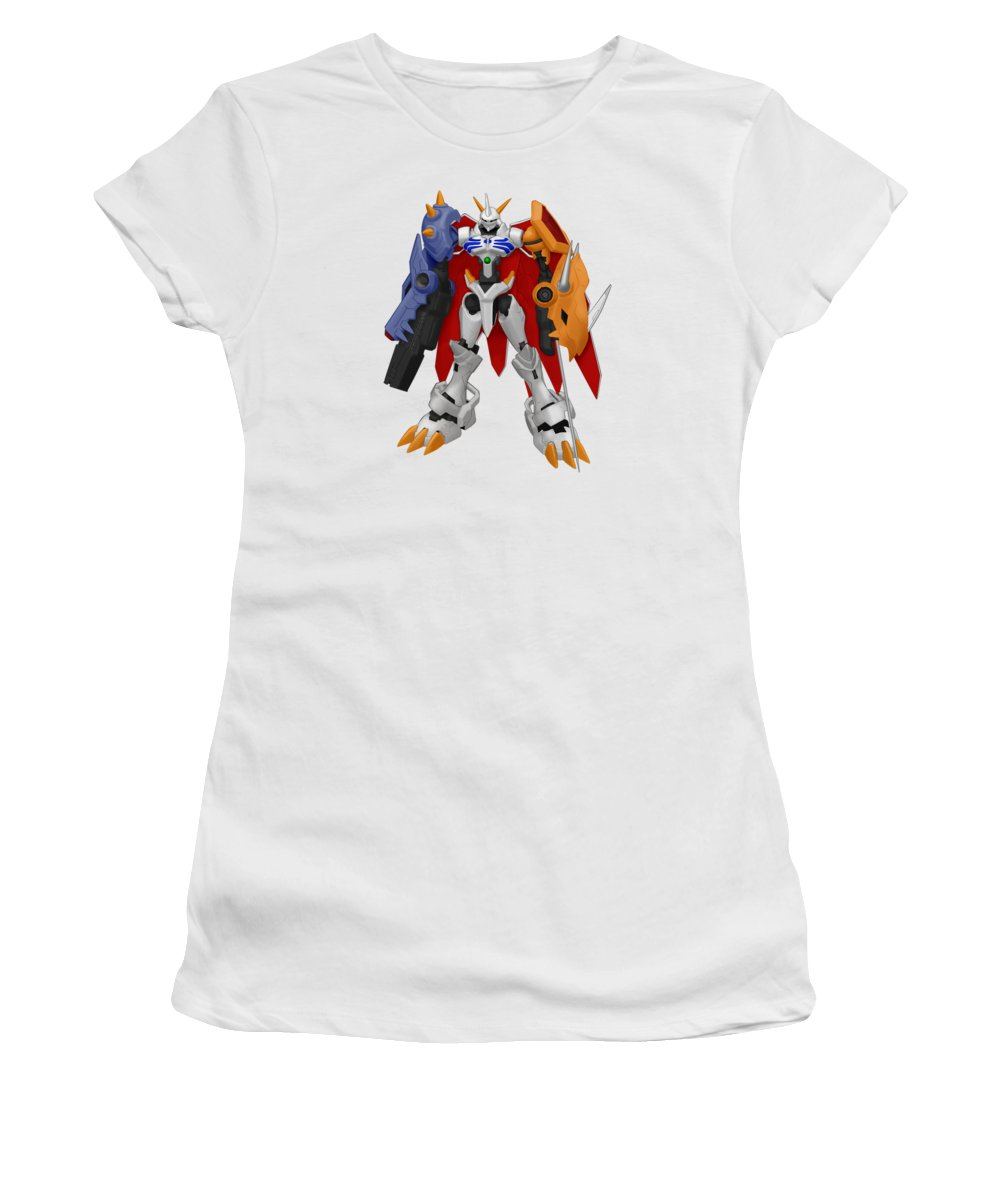 Pig Women's T-Shirt (Athletic Fit) featuring the drawing Digimon by Rosie Jasmine